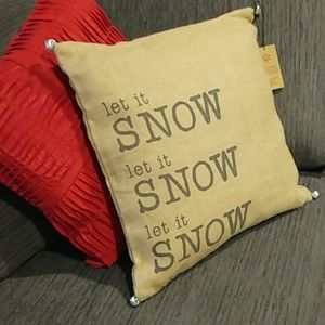 "Decorative ""Let It Snow"" Throw Pillow with Bells"